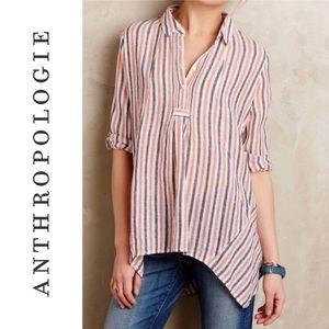 Anthropologie Linen Stripe Tunic Pullover Blouse